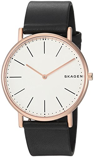 Skagen Men's Signatur Slim Titanium Analog-Quartz Watch with Leather Calfskin Strap, Black, 20 (Model: SKW6430)