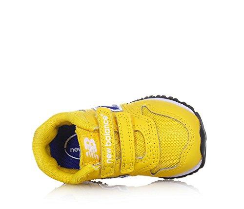 NEW BALANCE - Zapatilla deportiva 500 Infant amarilla, de tejido sintético y microfibra, con cierre de velcro, logo lateral, Unisex Niño, Niña Amarillo