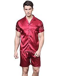 Men's Short Sleeve Satin Pajama Set with Shorts