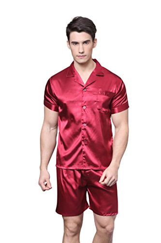 Tony & Candice Men's Short Sleeve Satin Pajama Set with Shorts (Burgundy,M)