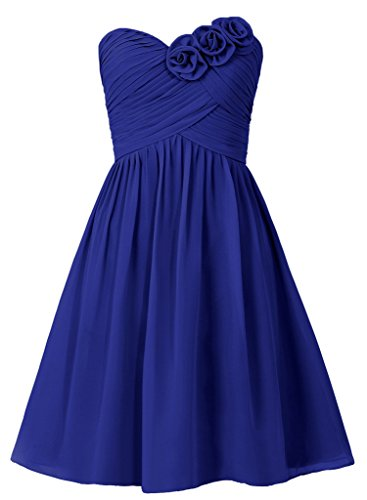Cdress Flower Sweetheart Short Chiffon Bridesmaid Dresses Maid of Honor Prom Gowns US 6 - Women Taffeta Brides Maid Dress