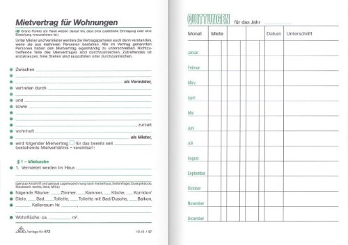 Mietvertragsheft 17x12 cm 32 Blatt, mit Hausordnung und Mietquittung