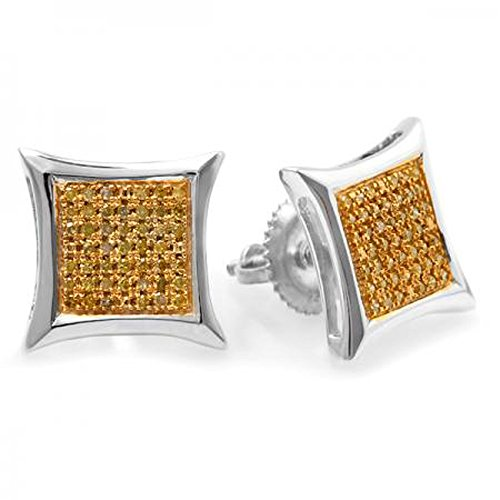- Dazzlingrock Collection 0.25 Carat (ctw) Yellow Round Diamond Micro Pave Setting Kite Shape Stud Earrings 1/4 CT, Sterling Silver
