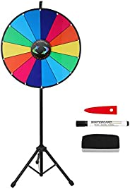 Voilamrt 24 Inch Prize Wheel with Folding Tripod Floor Stand Height Adjustable 14 Slots Color Dry Erase Spin W