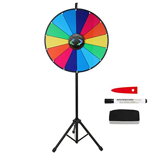 Dry Erase Prize Wheel (Voilamart 24 Inch Tabletop Color Prize Wheel with Folding Tripod Floor Stand 14 Slots Dry Erase Trade Show Fortune Spinning)