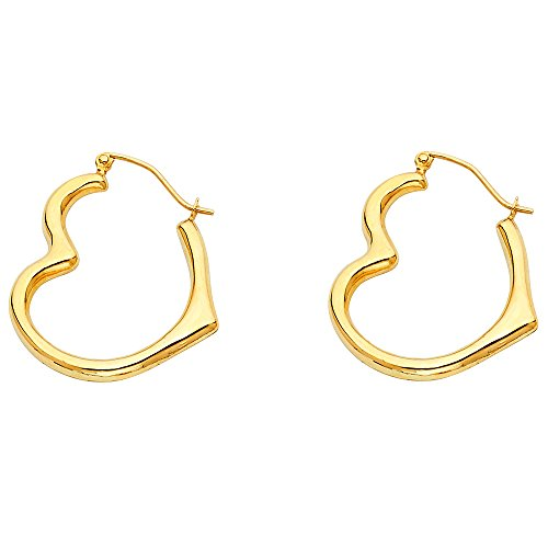 14k Yellow Gold Heart Shaped Hoop Earrings (13 x 15mm)