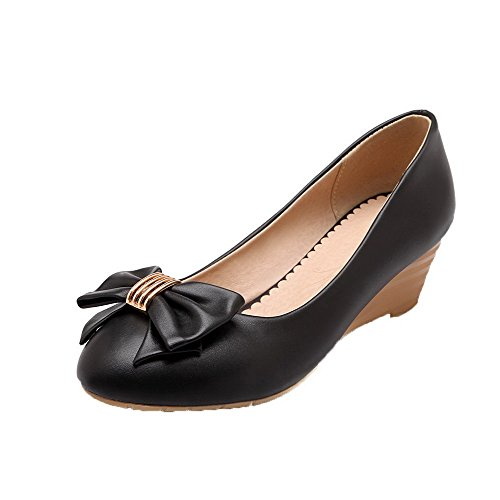 VogueZone009 Women's PU Round-Toe Low-Heels Pull-On Solid Pumps-Shoes Black uq5dyr9