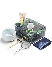 TEANAGOO zestaw do herbaty matcha, japoński zestaw do herbaty, miska matcha, bambusowa trzepaczka, miarka, przesiewacz, stojak na trzepaczkę, zestaw do trzepaczki matcha N1, zielona herbata w proszku