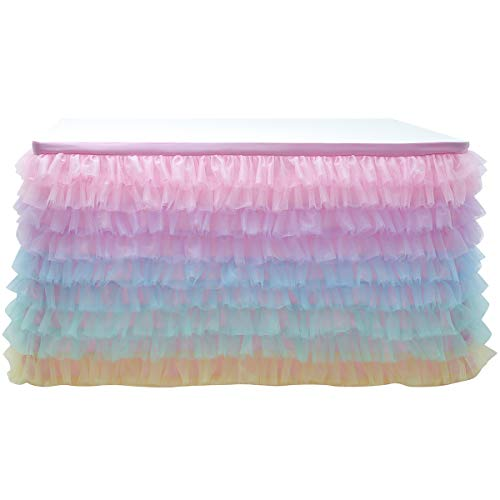 Cidyrer 6ft Rainbow Tulle Table Skirt Cloth for Rectangle Table or Round Table for Birthday, Wedding, Party Decoration Supplies