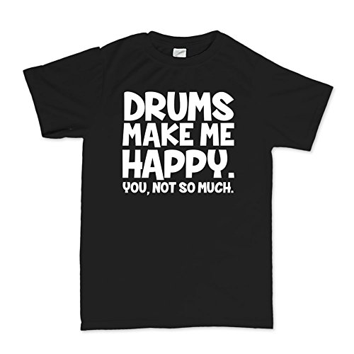 Customised Perfection Drums Make Me Happy Drum sticks Drummer Cymbals T-shirt Blk L
