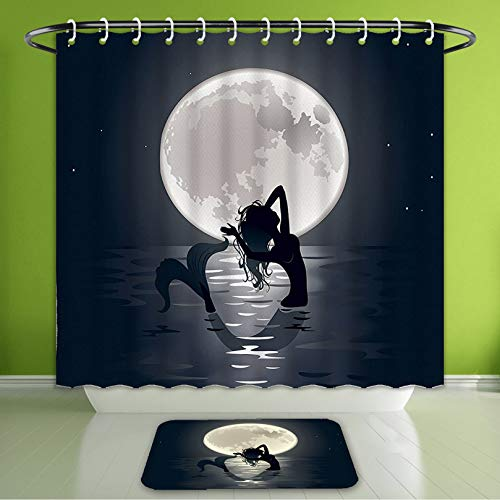 (Waterproof Shower Curtain and Bath Rug Set Mermaid Decor Mermaid Singing at Night Silhouette Full Moon Lights Mythical ORN Bath Curtain and Doormat Suit for Bathroom Extra Long Size 72