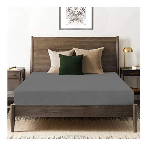 (Tissaj Organic Cotton Fitted Sheet - 500 TC Thread Count King Size Smoke Gray Color - Bedding - 100% GOTS Certified Extra Long Staple, Soft Sateen Weave - Fits 15