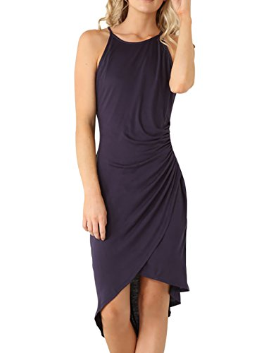 Eliacher Women's Summer Spaghetti Strap Sleeveless Casual Bodycon Midi Dress Navy Blue Small (Bust  72-82cm/28.30-32.30