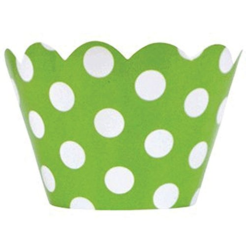 Just Artifacts Decorative Cupcake Paper Wrapper Muffin Holder - (40pc) Color: Green Apple w/ White Polka Dots - Decorations for Birthday Parties, Baby Showers, Weddings and Life (Green Cupcake Holders)