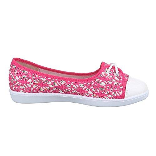 Damen Schuhe, K814, Freizeitschuhe, Slipper Sneakers, Textil, Pink, Gr 37