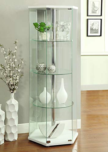 - 4-shelf Hexagon Shaped Curio Cabinet White and Clear