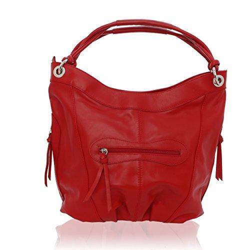 Véritable Made Femme Sac 42 pour cm épaule 16 Porté Florence Rouge 34 in Cuir H88qI6wx