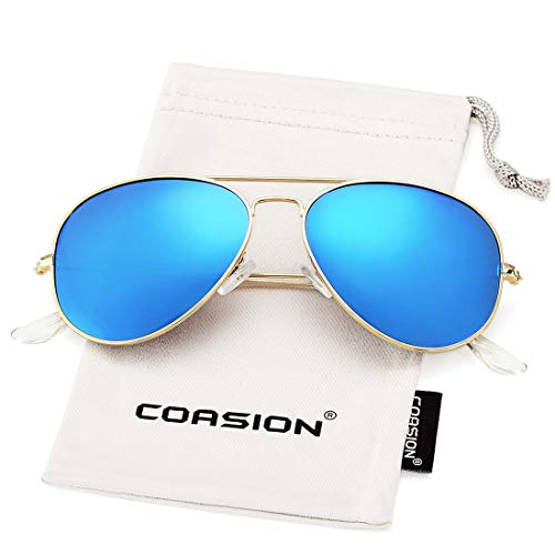 COASION Classic Polarized Aviator Sunglasses for Men Women Mirrored UV400 Protection Lens Metal Frame (Gold Frame/Blue Mirror ()