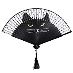 OULII Women Cartoon Cat Folding Silk Fan...