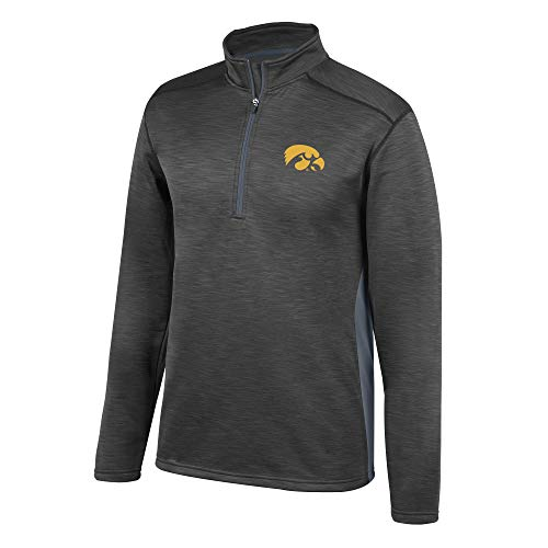 Top of the World NCAA Men's Iowa Hawkeyes Poly Cross Dye Next Calibur Half Zip Black Medium