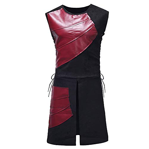 MenTops Party Medieval Leather Vest Laced up Sleeveless Cosplay Custome Blouse