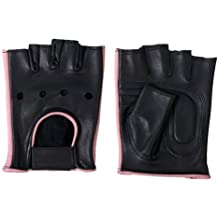 Hot Leathers Women's Fingerless Gloves (Black/Pink, Small)
