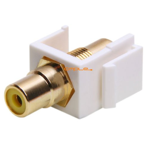 (Keystone Jack - Modular RCA with Yellow Center (White))