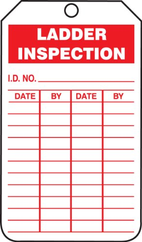 "Accuform Signs TRS248CTP Inspection Record Tag, Legend""Ladder Inspection"", 5.75"" Length x 3.25"" Width x 0.010"" Thickness, PF-Cardstock, Red on White (Pack of 25)"