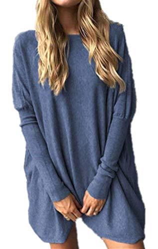 Collo Sciolto Pullover Eleganti Donna Pullover Manica Pullover Blau Maglia Plus Invernali Moda Lunga Maglia Prodotto Grazioso In Maglieria Puro Rotondo Colore Vintage Autunno Casual Top Maglioni A H6TKqxYw6