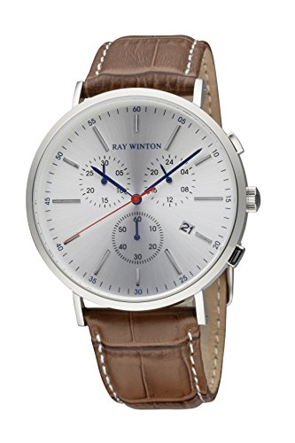 Ray Winton Men's WI0116 Date Chronograph Silver Dial Croc-Embossed Genuine Brown Leather - Brown Ray