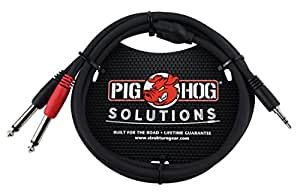 """Pig Hog PB-S3410 3.5 mm Stereo to Dual 1/4"""" Mono (Male) Stereo Breakout Cable, 10 feet"""