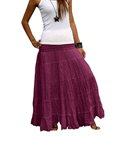 Billy's Thai Shop Tiered Skirt Long Skirts for Women Boho Gypsy Skirts Handmade Maxi Skirts for Women (One Size, Byzantium Purple)