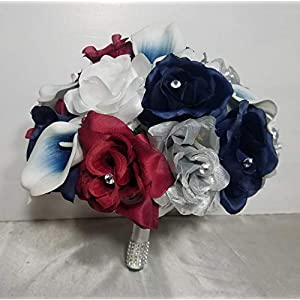 Burgundy Navy Blue Silver Rose Calla Lily Bridal Wedding Bouquet & Boutonniere 35