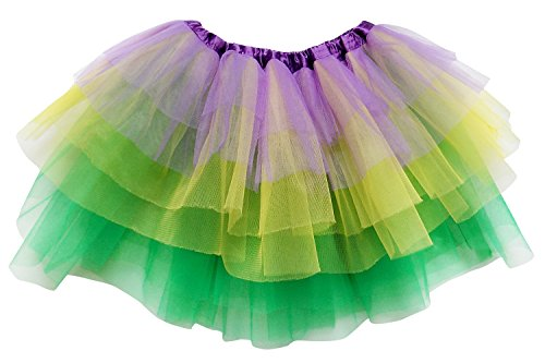 So Sydney Adult Plus Kids Size 6 LAYER FAIRY TUTU SKIRT Halloween Costume Dress (L (Adult Size), Mardi Gras) - Best Mardi Gras Costumes