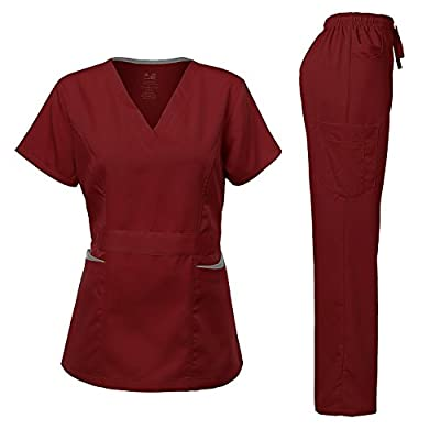 Dagacci Medical Uniform Women's Scrubs Set Stretch Ultra Soft Contrast pocket
