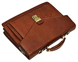 Leather Mens Briefcase, Laptop Bag Medium Brown - Time Resistance