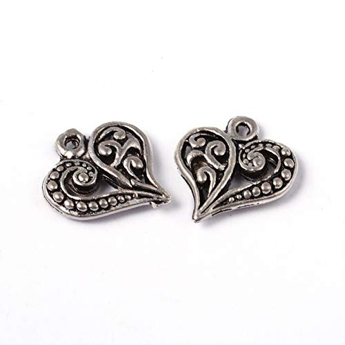 (Craftdady 50Pcs Antique Silver Filigree Love Heart Charms 14x13mm Tibetan Alloy Lead Free Tiny Sweet Heart Beads Pendants for DIY Jewelry Bracelet Necklace Earring Making)