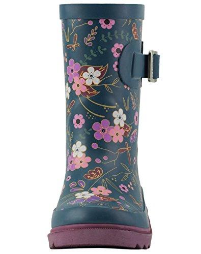 Oakiwear Kids Rubber Rain Boots, Midnight Floral, 4Y US Big Kid by Oakiwear (Image #3)