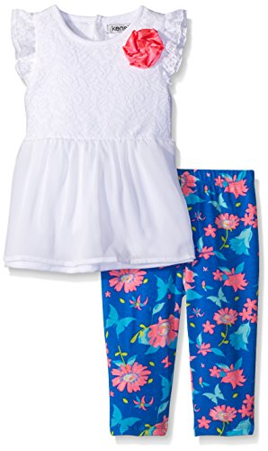 kensie Little Girls' Toddler 2 Piece Laced Crinkle Chiffon Top and Capri Legging, White, 2T - Crinkle Capri Set