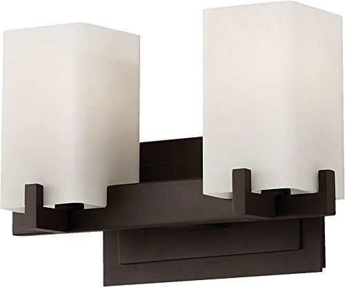Feiss VS18402-ORB Riva Glass Wall Vanity Bath Lighting, Bronze, 2-Light (13