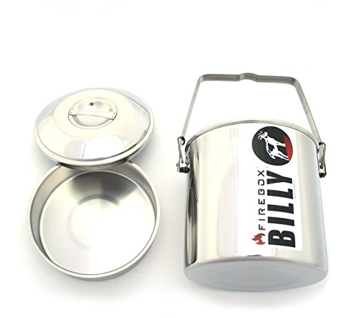 "Firebox 2 Quart (5.5"") Billy Can - Locking Bail Handle Bushcraft Camp Pot, SS Clips (Installed)"