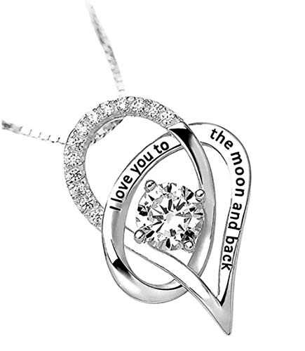 - STAZZLE I Love You to The Moon and Back inscribed Pendant Rhodium-flashed Beautiful Necklace Brand. Gift Elevated Necklace for Women, Wife, Lover, Grandma, Sister