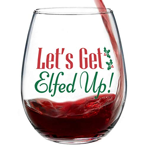 Let's Get Elfed Up Stemless Christmas Wine Glass for Fun Christmas Holiday Present with Gift Box - 15 Ounces]()
