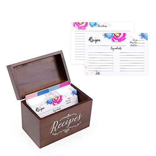 Vintage 4x6 Wood Recipe Box with Cards and Dividers Gift Set | 75 Floral Pink Blue Double Sided 4x6 Recipe Cards & 8 Dividers | Great Gift for Mom Women Wedding Bridal Shower (Recipe Blank Box)