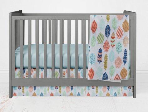 Crib Bedding Set- Feathers - 3 Piece Girl crib bedding set - Handmade in the USA by Twig + Bird