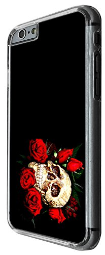 1478 - Cool Fun Trendy skeleton red roses walking dead scary skull tattoo biker skull Design iphone 4 4S Coque Fashion Trend Case Coque Protection Cover plastique et métal - Clear