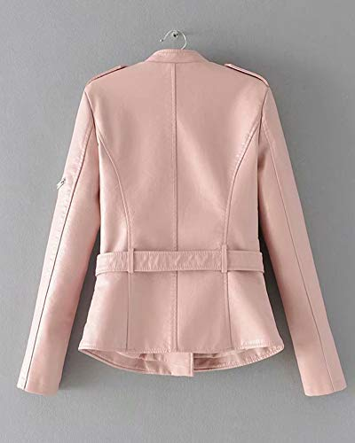 In Motorcycle Vita Giacché Donna Pelle Giacca Cintura Corta Pink Casual Zip Cappotto Con Pu nSnxY06