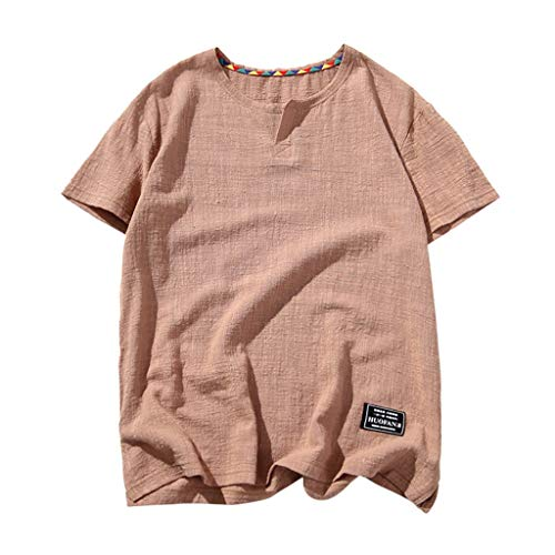 YKARITIANNA Mens Linen Short Sleeve Solid Color Crew Neck Loose Casual T Shirt Blouse 2019 Summer New Arrivals (Tropic Top Lycra)