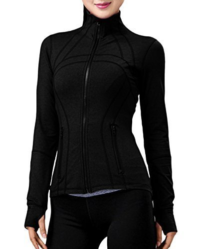 Women Long Sleeve Jacket, Running Yoga Workout Slim Sweatshirts with Two Side Pocket