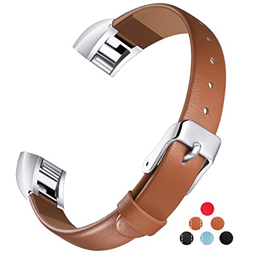 Konikit Fitbit Alta HR and Alta Bands Leather Accessory, Adjustable Replacement Wristband with Metal Connectors for Fitness Band, - Sunglasses Argentina